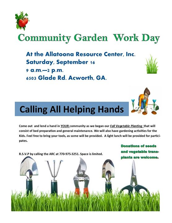 Volunteer Needed for Community Garden Work Day | Allatoona